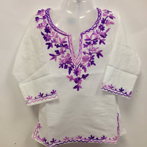 Kashmiri Embroidered Short Cotton Girls Top - White & Purple - 1
