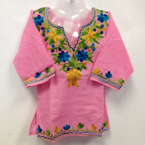 Kashmiri Embroidered Short Cotton Girls Top