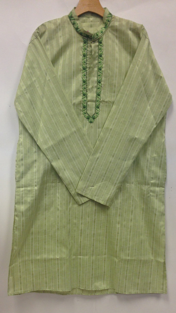 Men's  Embroidery Cotton Kurta - Green