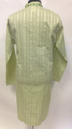 Men's  Embroidery Cotton Kurta - Green - Sarang