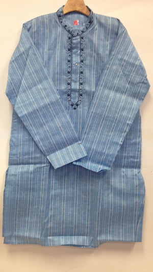 Men's cotton Kurta - Blue - Sarang