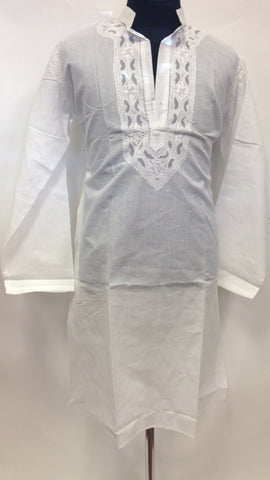 Cotton Long Kurta - White - Sarang