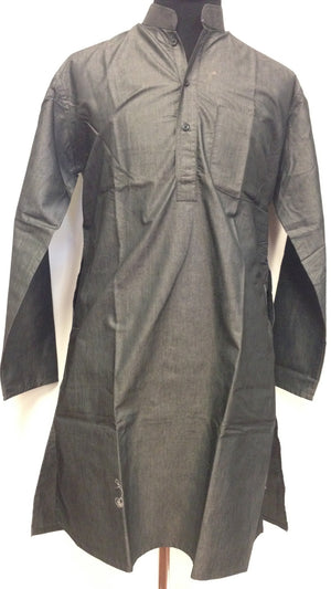 Silk Cotton Kurta - Black - Sarang