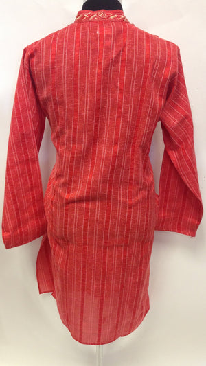 Men's Cotton Embroidery Kurta - Red - Sarang