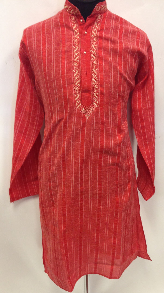 Men's Cotton Embroidery Kurta - Red