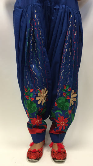 Patiala with embroidery work - Blue - 2