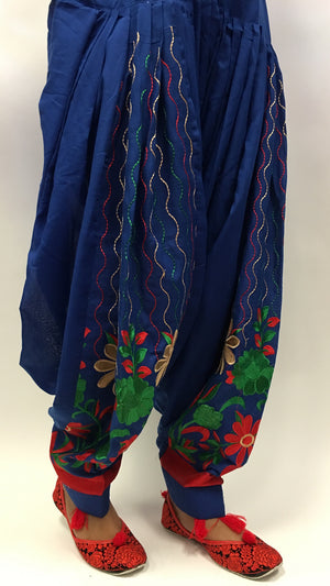 Patiala with embroidery work - Blue - 1