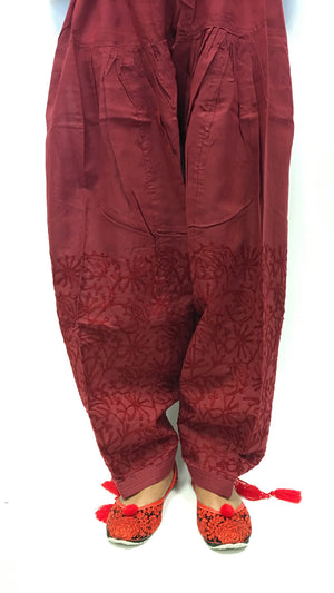 Paitala with maroon print work - Maroon - 2