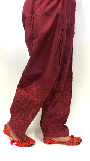 Paitala with maroon print work - Maroon - 1