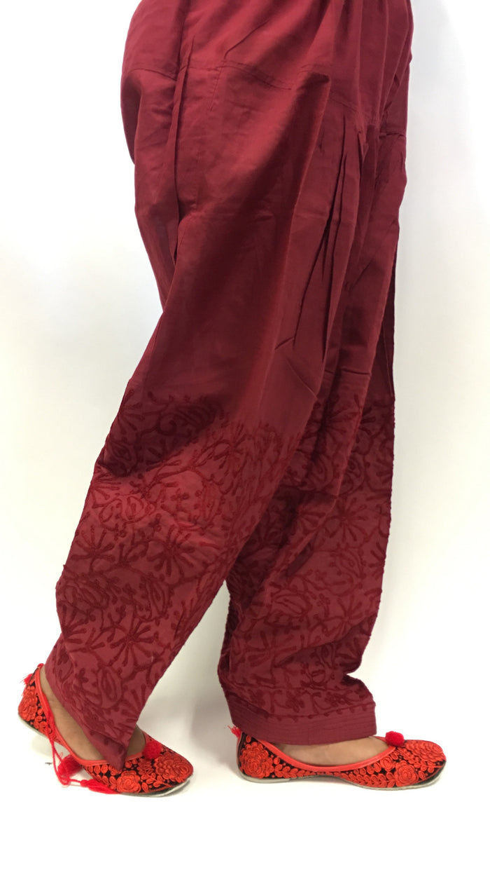 SALWAR WITH EMBROIDERY - Maroon
