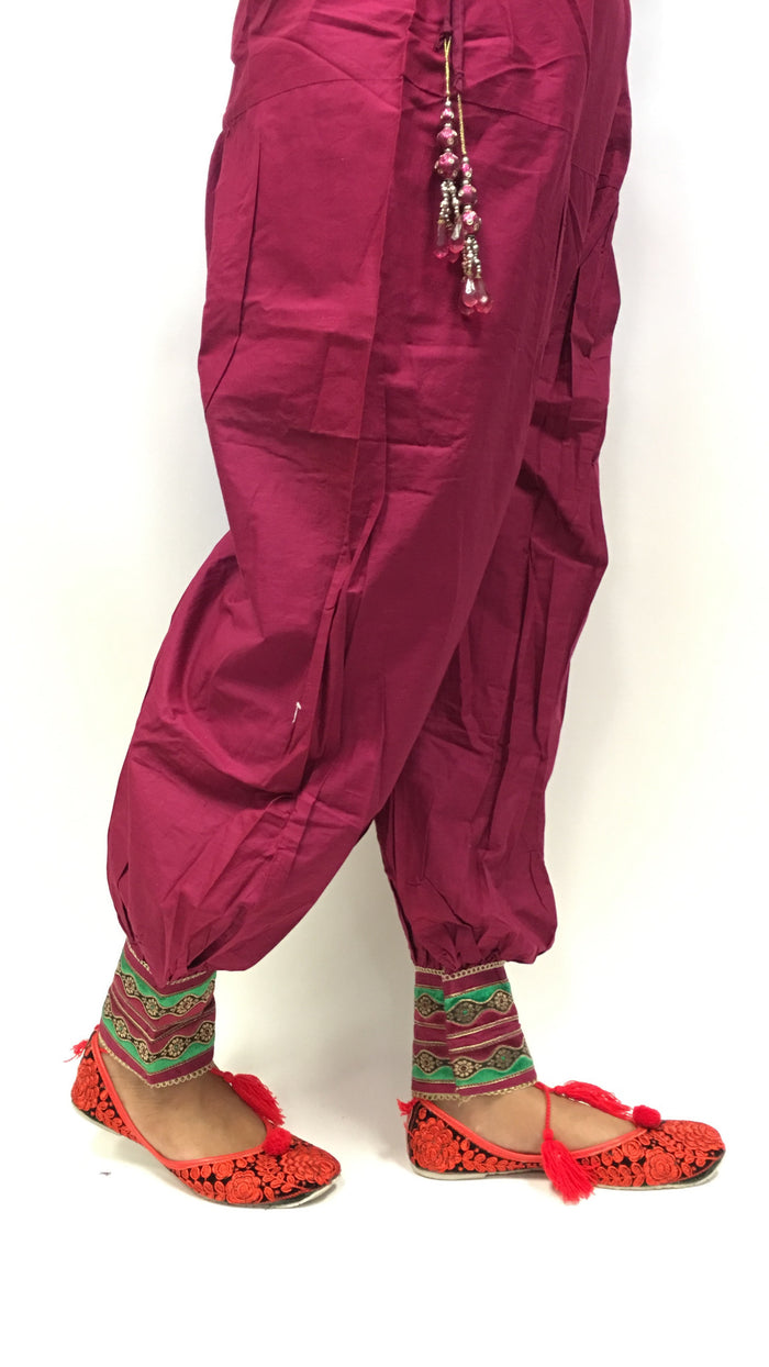 Patiala with embroidery in patch - Dark Pink