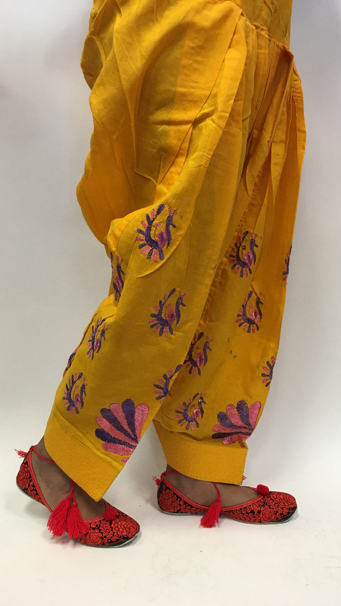 Patiala with purple embroidery - Yellow