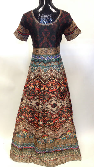 Long Digital Print Dress in Silk with Jacquard Leggings - 2