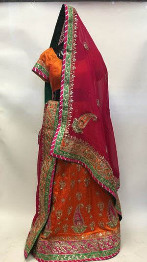 Silk Bridal Lehengha-Orange - 3