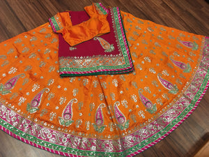Silk Bridal Lehengha-Orange - 5