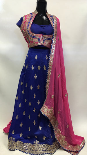 Bridal Silk Lehengha- Blue Pink - 3