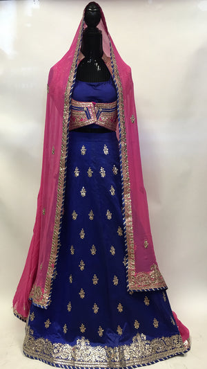 Bridal Silk Lehengha- Blue Pink - 5