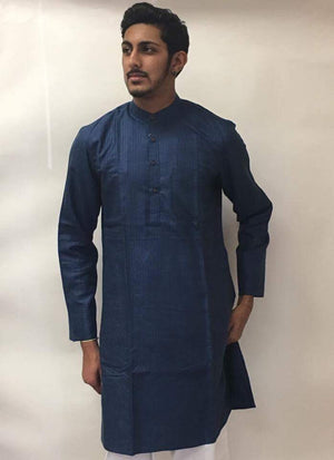 Men's Cotton Kurta-Blue - Sarang
