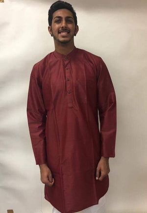 Men's Cotton Kurta-MAROON - Sarang