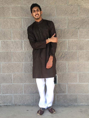Men's Cotton Kurta-Dark Brown - Sarang