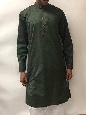 Men's Cotton Kurta-Dark Green - Sarang