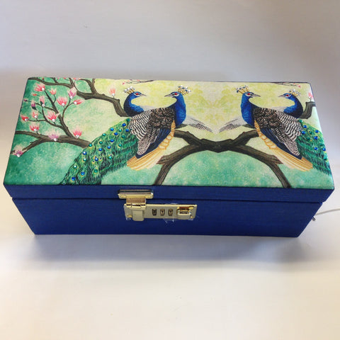 Peacocks Printed Bangles Box - Blue - Sarang