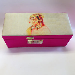 Traditional Bridal Print Bangles Box - White & Pink - Sarang