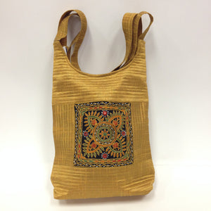 Handcrafted Embroidery Small Handbag - Golden, Blue, Maroon - 3