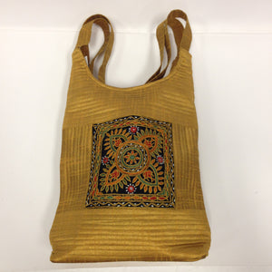 Handcrafted Embroidery Small Handbag - Golden, Blue, Maroon - 2