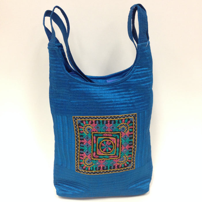 BD-Handcrafted Embroidery Small Handbag - Golden, Blue, Maroon