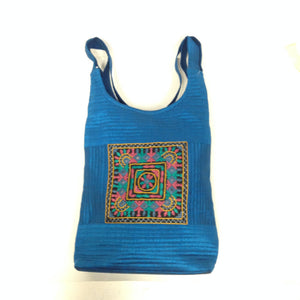 Handcrafted Embroidery Small Handbag - Golden, Blue, Maroon - 5