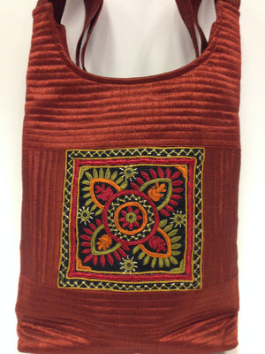 Handcrafted Embroidery Small Handbag - Golden, Blue, Maroon - 4