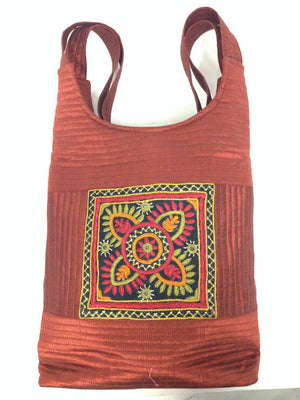 Handcrafted Embroidery Small Handbag - Golden, Blue, Maroon - 9