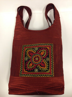 Handcrafted Embroidery Small Handbag - Golden, Blue, Maroon - 10