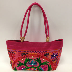 Handmade Traditional Kutchi Embroidery Work Handbag - Red, Pink, Yellow & Green - 7