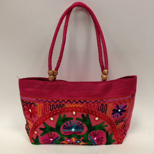 Handmade Traditional Kutchi Embroidery Work Handbag - Red, Pink, Yellow & Green - 2
