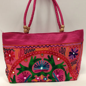 Handmade Traditional Kutchi Embroidery Work Handbag - Red, Pink, Yellow & Green - 8