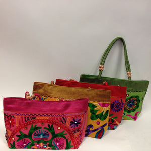Handmade Traditional Kutchi Embroidery Work Handbag - Red, Pink, Yellow & Green - 1