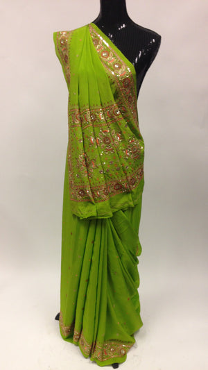 Pure Crepe silk Saree with Hand Embroidery - Green - 1
