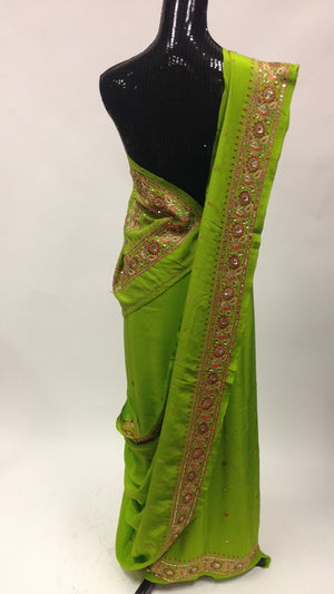 Pure Crepe silk Saree with Hand Embroidery - Green - 2