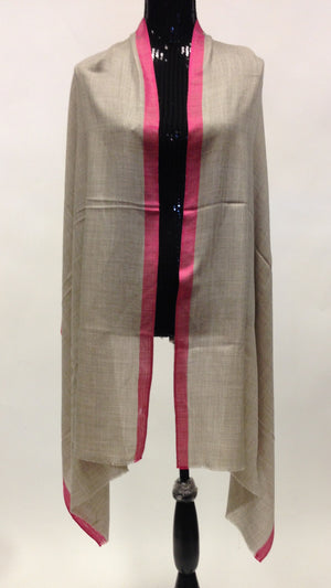 Semi-Pashmina wool Scarf/Stole with Pink Border - Grey - Sarang