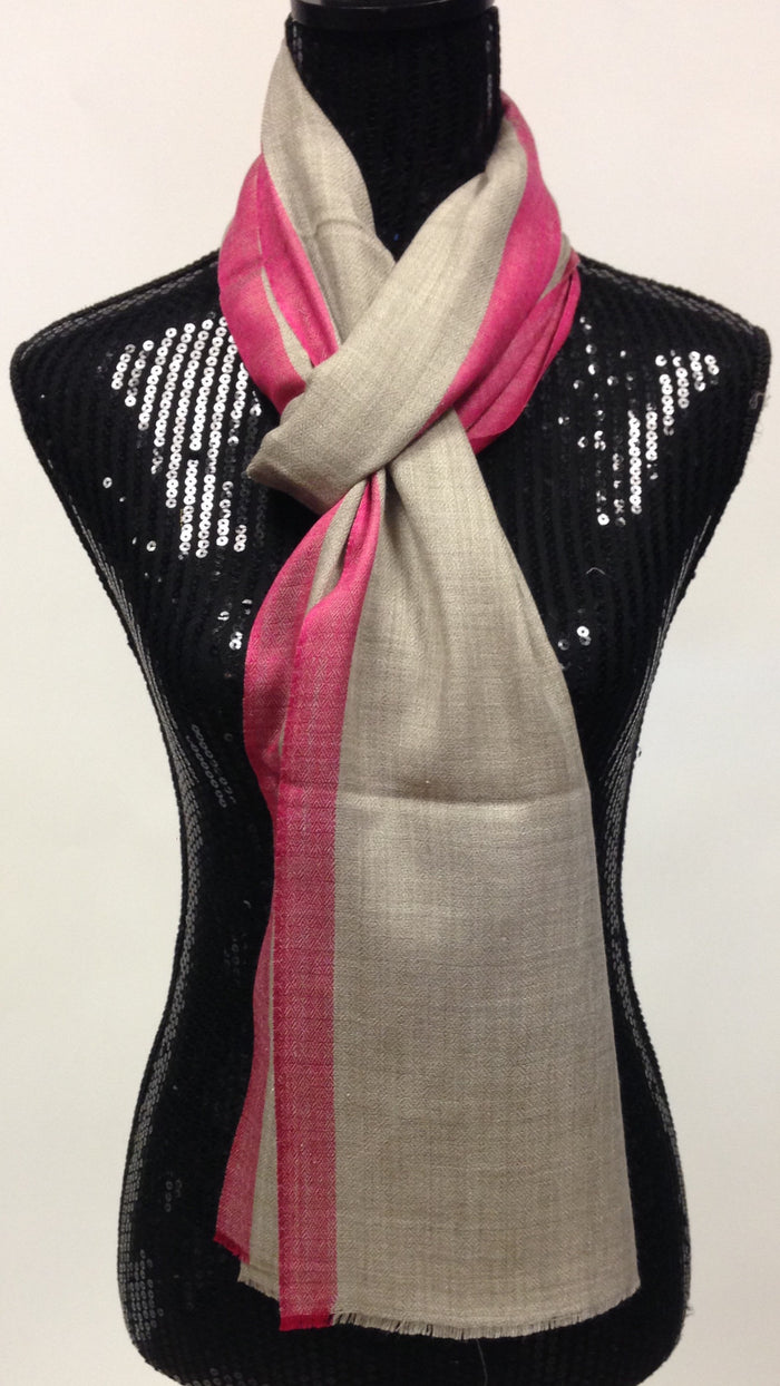 Pashmina wool Scarf/Stole with Pink Border
