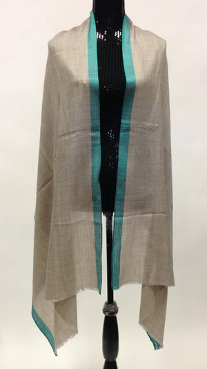 Semi-pashmina wool Scarf/Stole with Turquoise Blue Border - Grey - Sarang