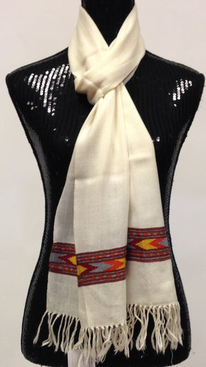 Himachal wool scarf - Off White - 1