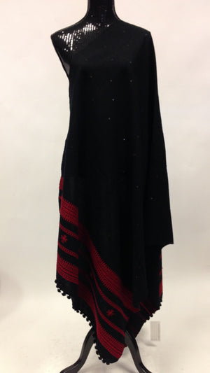Gujarati Hand Embroidery Shawl - Black - 1