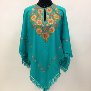 Kashmiri Hand Embroidered Poncho - Sea Green - Sarang