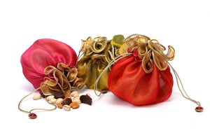 Potli bag Organza Silk - Green, Orange, Pink, Red - 1