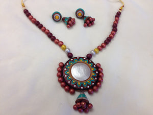 Terracotta Necklace Set/ Clay Indian Jewelry - Multi Color - Sarang