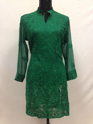 Lucknowi Embroidery Long Kurti - Green - Sarang