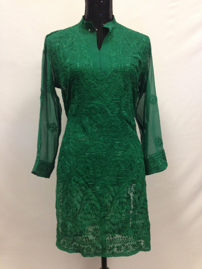 Lucknowi Embroidery Long Kurti - Green